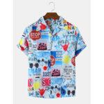 New              Mens Colorful Print Short Sleeve Casual Shirts