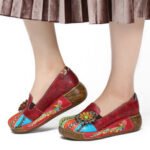 New              SOCOFY Retro Floral Embossed Genuine Leather Casual Slip On Platform Shoes