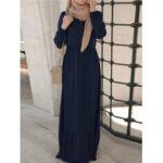 New              Women Puff Sleeve Elastic Waist Long Sleeve Button Retro Robe Maxi Dress