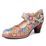 New              SOCOFY Retro Leather Floral Splicing Snakeskin Round Toe Chunky Heel Pumps