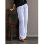 New              Women Stripe Print Simple Casual Wide Leg Pants with Side Pockets