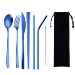 New              8Pcs Titanium-Plated 304 Stainless Steel Cutlery Set Knife Fork Spoon Chopsticks And Straw Combination