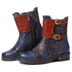 New              SOCOFY Splicing Embroidery Adjustable Wide Fit Warm Lined Zipper Ankle Boots