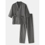 New              Cotton Mens Solid Color  Japanese Style Kimono Bathrobes Home Pajama Set