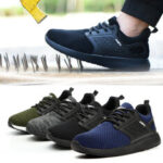 New              AtreGo Mens Mesh Safety Shoes Steel Toe Anti-smash Breathable Hiking Climbing Work Shoes