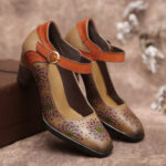 New              SOCOFY Leather Floral Hollow Buckle Ankle Strap Chunky Heel Pumps Dress Shoes