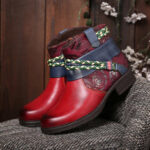 New              SOCOFY Printed Outdoor Woven Rope Splicing Side-zip Round Toe Block Heel Ankle Boots
