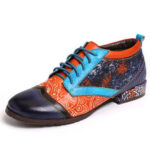 New              SOCOFY Bohemian Pattern Colorblock Genuine Leather Stitching Comfy Flat Shoes