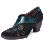 New              SOCOFY Retro Embroidery Lovely Flower Genuine Leather Casual Comfy Slip On Pumps