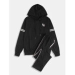 New              Mens Cotton Casual Loose Two Pieces Long Sleeve Drawstring Hooded Suits