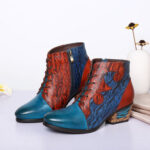 New              SOCOFY Retro Irregular Stitching Genuine Leather Printing Low Heel Ankle Boots