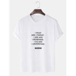 New              Mens Cotton Slogan Print Solid Color Loose Casual O-Neck T-Shirts