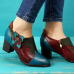 New              SOCOFY Vintage Hand Painted Floral Splicing Pattern Zipper Mid Heel Genuine Leather Pumps
