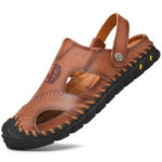 New              Men Anti-collision Toe Cow Leather Hand Stitching Outdoor Water Sandals