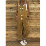 New              Women Floral Print Cotton Holiday Casual Loose Jumpsuits with Back Pockets