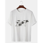 New              Cotton Cartoon Milking Print Round Neck Short Sleeve Loose T-Shirts