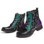 New              SOCOFY Tradional Splicing Sofy Faux Fur Lace-up Round Toe Block Heel Combat Boots