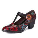 New              SOCOFY Retro Florals Embroidery Flowers Leather Low Heel T-strap Hook Loop Pumps