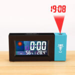 New              LED Digital Projection Alarm Clock Weather Thermometer Snooze Backlight Calendar