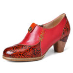 New              SOCOFY Retro Leather Beaded Flower Embossed Stitching Zipper Mid Heel Pumps