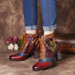 New              SOCOFY Retro Embossed Genuine Leather Splicing Pink Flower High Heel Ankle Boots