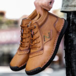 New              Men Hand Stitching Microfiber Leather Non Slip Casual Ankle Boots