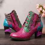 New              SOCOFY Fancy Pattern Stitching Embossed Genuine Leather Zipper High Heel Short Boots
