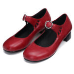 New              Women Leather Sandals Mid Heel Square Toe Comfort Anti-slip Casual Loafters Hiking Camping Travel Ballet Shoes