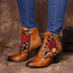 New              SOCOFY Stylish Embroidery Floral Splicing Adjustable Zipper Warm Lined Stacked Heel Ankle Boots