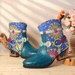 New              SOCOFY Women Tribal Printing Splicing Blue Zipper Low Heel Rubber Short Boots