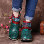 New              SOCOFY Retro Womens Green Embossed Genuine Leather Soft Flat Zipper Ankle Boots