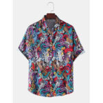 New              Mens Colorful Abstract Print Casual Light Short Sleeve Shirts