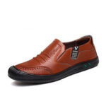New              Men PU Leather Anti-collision Toe Non Slip Soft Sole Business Casual Shoes