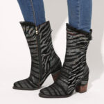 New              SOCOFY Ladies Lace Design Metal Color Zebra Pattern Pointed Toe Zipper Block Heel Western Boots