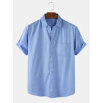 New              Mens Pinstripe Cotton Breathable Casual Short Sleeve Shirts With Pocket