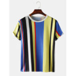 New              Mens Vertical Stripes Print Casual Short Sleeve T-Shirts
