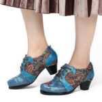 New              SOCOFY Retro Embossed Flower Folkways Cloth Pattern Lace Up Comfy Pumps