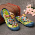 New              SOCOFY Handmade Leather Studded Floral Slip-on Flat Slides Mules Clogs Sandals