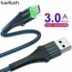 New              Twitch Micro USB Data Cable 3A Fast Charging Line For Huawei Vivo Xiaomi ASUS ZenFone Max Pro (M1) ZB602KL