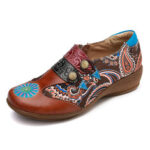 New              SOCOFY Folkways Retro Pattern Genuine Leather Splicing Comfy Soft Side Zipper Flat Shoes