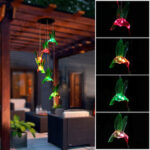 New              Solar LED Bird Wind Chime Gardening Decoration Outdoor Decoration Automatic Induction Belt Hook