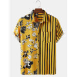 New              Banggood Designed Mens Patchwork Floral & Striped Printed Pocket Casual Shirts