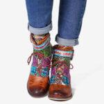 New              SOCOFY Splicing Pattern Flower Deco Block Heel Adjustable Zipper Ankle Boots