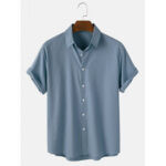 New              Mens Cotton Breathable Solid Color Casual Short Sleeve Shirts