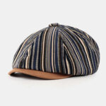New              Men Cotton Stripe Pattern British Style Autumn Winter Keep Warm Octagonal Hat Newsboy Hat