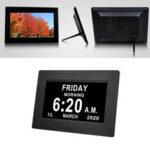New              7Inch LED Digital Photo Frame Large Font Clock Automatically Adjusts Brightness
