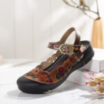 New              SOCOFY Folkways Leather Floral Printed Cutouts Buckle Strap Hook Loop Flat Mules Clogs Sandals