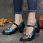 New              SOCOFY Retro Leather Floral Splicing Chunky Heel Pumps Mary Jane Dress Shoes