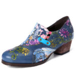 New              SOCOFY Retro Embossed Flowers Genuine Leather Short Heel Zipper Pumps