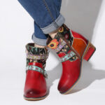 New              SOCOFY Womens Folkways Embossed Genuine Leather Metal Buckle Cozy Flat Short Boots